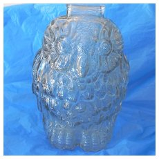 Vintage Glass Bank Wise Old Owl