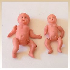 (2) Old Celluloid Dollhouse Baby Dolls