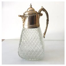 Victorian Silver Plate and Clear Glass Lidded Pitcher Large