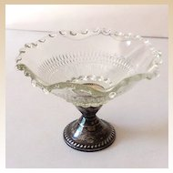 Lovely 1940s Glass Compote With Sterling Silver Base