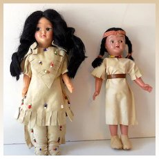 2 Vintage Native American Indian Plastic Dolls
