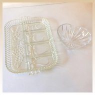 (2) Vintage 1950s-60s Glass Serving Pieces