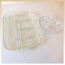 (2) Vintage 1950s-60s Glass Serving Pieces