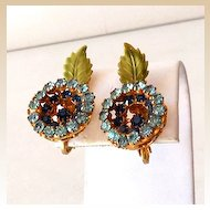 Flashy Vendome Blue Rhinestones & Enamel Earrings
