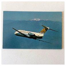 1966 Postcard Continental Airlines DC-9 Golden Jet
