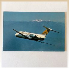 1966 Postcard Continental Airlines DC-9 Golden Jet