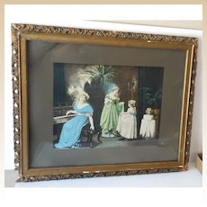 """Large Victorian Framed Print """"The Dancing Lesson"""""""