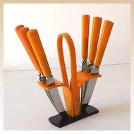Vintage 1930s Bakelite Fruit Knife Set in Stand