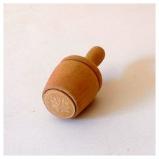 Small Plunger Style Wood Butter Mold Flower Design