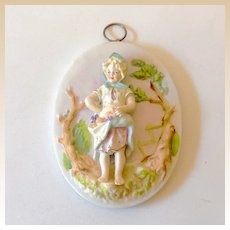 Lovely 3 Dimensional Porcelain Plaque Girl With Fruit