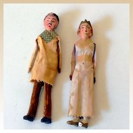 Pair of Very Old Hand Made Bisque Dolls Dollhouse Dolls