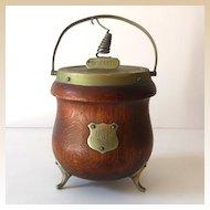 Vintage English Oak Biscuit Jar Hammond Creake & Co