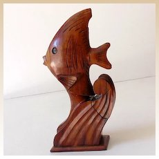 Hawaiian Hand Carved Wood Perfume Bottle Holder Fish