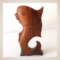 Hawaii Hand Carved Wood Perfume Bottle Holder Dolphin