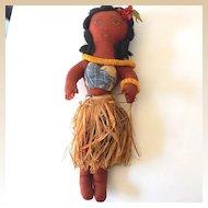"Vintage 17"" Hand Made Hawaiian Cloth Hula Girl Doll"