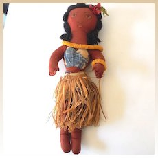 "Vintage 17"" Hand Made Hawaiian Cloth Hula Girl Doll"