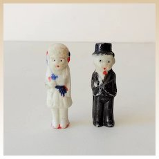 (2) Vintage Bisque Dolls Wedding Cake Top Bride and Groom