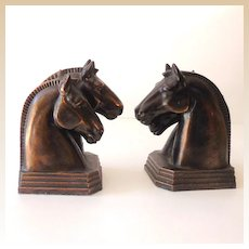 Art Deco Metal Double Horse Heads Bookends