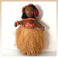 1940s Hand Made Hawaiian Cloth Hula Girl Doll