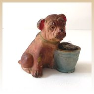 Old Figural Chalkware Bulldog Pin Cushion