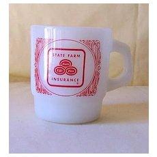 Vintage Anchor Hocking Advertising Mug State Farm Insurance