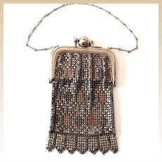 Small Vintage Mesh Purse With Built In Mirror