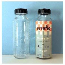 (2) 1956 Evenflo Glass Baby Bottles 1 In Original Packaging