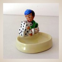 Vintage Black Americana Ceramic Pin Dish Boy With Dice