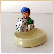 Vintage Black Americana Ceramic Pin Dish Boy With Dice