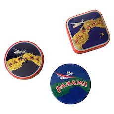 (3) Different Panama Typewriter Ribbon Tins Aviation
