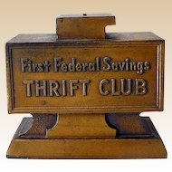 Vintage 1930s Banthrico Metal Savings Thrift Club Bank