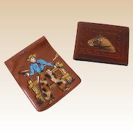 (2) Vintage Western Wallets Cowboy Horse