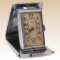 Small Folding Art Deco Travel Pocket Clock Working