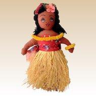 Vintage 1940s Hand Made Hawaiian Cloth Hula Girl Doll