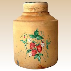 Very Old Pottery Crock Hand Painted Strawberries