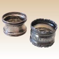 (2) Victorian Silver Plated Napkin Rings