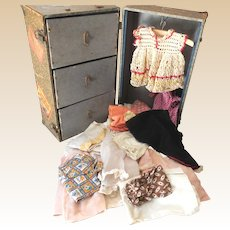 1930s Doll Trunk With Clothes