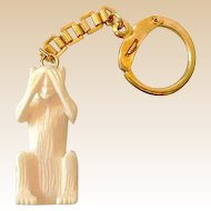 "Deeply Carved ""See No Evil"" Monkey With Key Chain"