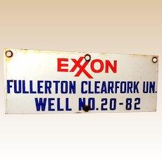 Vintage EXXON Oil Well Porcelain Sign *NICE*