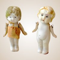 (2) Vintage Jointed 3 Inch Bisque Dolls Japan