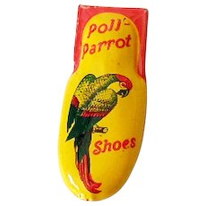 Vintage Tin Advertising Clicker Poll Parrot Shoes