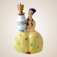 Figural Lady Sitzendorf Crown Top Perfume Bottle Germany
