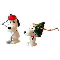 (2) Ceramic Peanuts Gang Ornaments Snoopy Japan