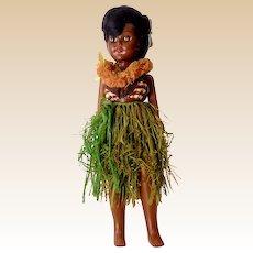 """Vintage Hawaiian Hula Girl Doll With Sleep Eyes 11"""""""