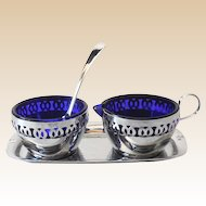 Chromium Plated Cobalt Blue Glass Cream Sugar & Tray