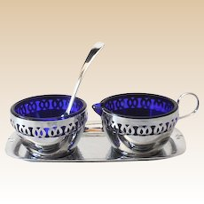 Chromium Plated Cobalt Blue Glass Cream Sugar & Tray