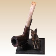 1935 Ronson Scottie Dog Pipe Holder With Old Pipe