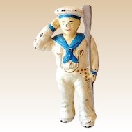 Vintage Cast Iron Bank Saluting Sailor