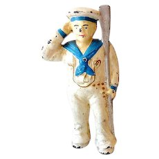 Vintage Cast Iron Bank Saluting Sailor