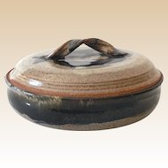 Signed Lidded Heavy Pottery Bowl